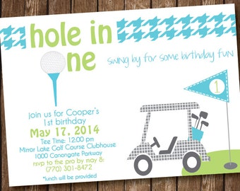 Golf Cart Birthday Party Invitation - Hole in One - Printed and Printable