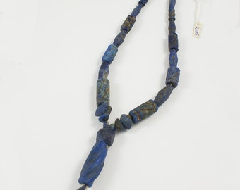 Lapis Lazuli Ancient Style Necklace Carved Barrel Beads Strand - LLB005
