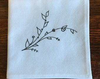 Vines- Handmade and Screen Printed Pocket Square, Black, Silver or Gold on White, Blue or Lilac. Handkerchief, Gift
