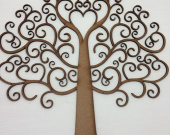 New! Swirl Wooden Family Tree Memory Tree Keepsake Wall Plaque for all occasions