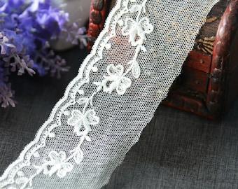 "10 yard 4cm 1.57"" wide ivory mesh embroidery lace trim ribbon L22K449 free ship"