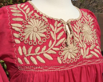 Mexican embroidered tunic  Mexican blouse  Boho blouse  Artisan blouse