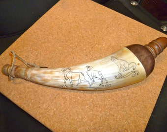Scrimshaw Powder Horn Black Powder Mountain Men Civil War Reenactment