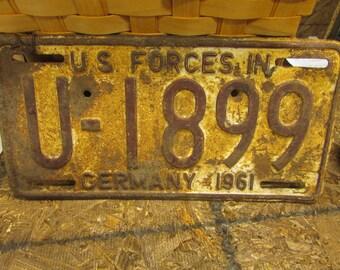 Vintage U.S. Forces in Germany 1961 License Plate