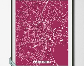 Macclesfield Print, England Poster, Macclesfield Poster, Macclesfield Map, England Print, England Map, Street Map, Independence Day