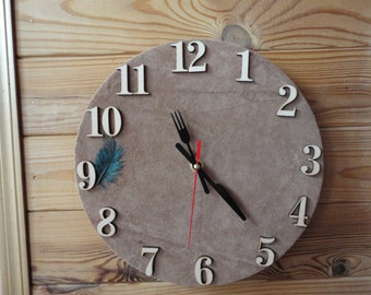 Wall clock leather,a beautiful decoration
