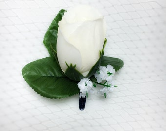 Ivory/White Boutonniere