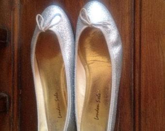 London Sole Silver Glittered Ballet Flats
