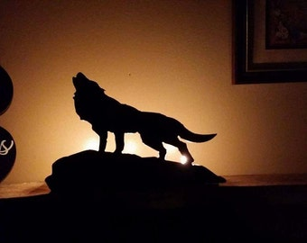 Wolf Steel Candle Holder