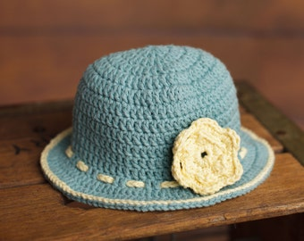 Toddler hat, sunhat with flower