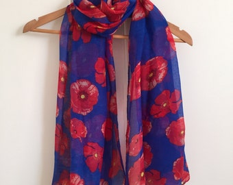Royal blue poppy scarf