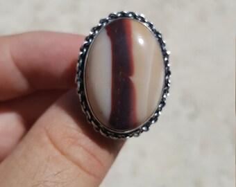 Unique Mookaite Ring Size 8 1/2 .925 Sterling Silver Beautiful Australian Mookaite Jasper Natural Stone