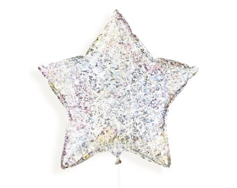 "Silver Holographic Star Foil Balloon 20"" (51cm)"