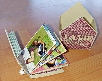 Mini Photo Album handmade in house shaped box
