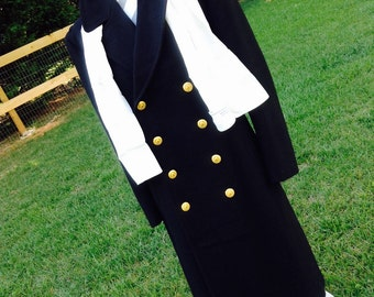 1970's Navy Coat, Mens Wool Coat, Naval Academy Coat, Vintage Navy Coat, Vintage Navy Collector, War Collectors Item, Vintage Naval Academy,