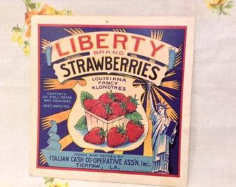 Vintage Postcard Strawberries