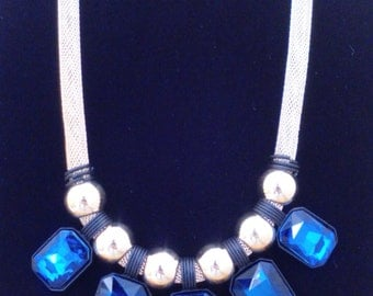 Bib necklace, statement necklace blue like the ocean