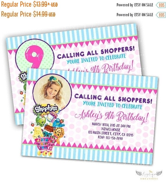 ON SALE Shopkins Birthday Invitations & Matching Blank Digital Thank You Card