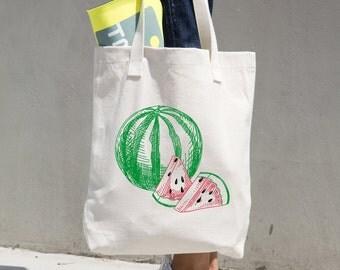 Watermelon Tote Bag - Farmer's Market Bag - Market Tote - Reusable Bag - Reusable Shopping Bag - Grocery Bag - Bull Denim Tote - Sturdy Tote