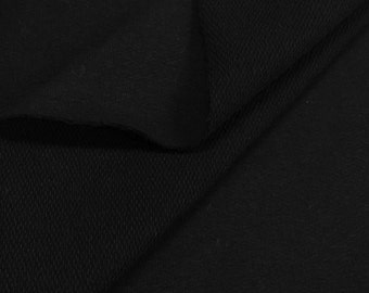Poly Cotton French Terry Knit Fabric (Wholesale Price Available By the Bolt) USA Made Premium Quality- 5471PC5 Black - 1 Yard