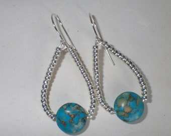 Mosaic Turquoise Gemstone and Silver Beaded Earrings