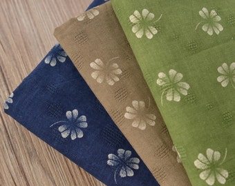 Japanese Clover Linen Fabric Cotton Linen Blend Fabric by the Yard,Upholstery Fabric for Bag Cushion Tablecloth DIY