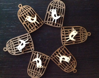 Wooden Bird's Cage charm x6