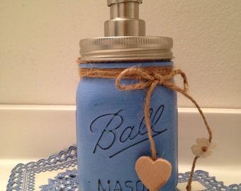 Blue Mason Jar Soap Dispenser