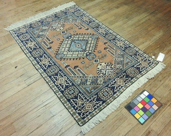 4x5 Persian Tabrizbaft Vintage Hand-Knotted Rug 035369