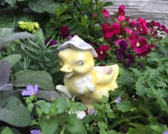 Vintage Yellow Duck Porcelain Figurine