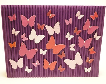 Handmade Purple and Lavender Butterfly Rhinestone Card