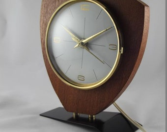 Mid century wooden mantle clock