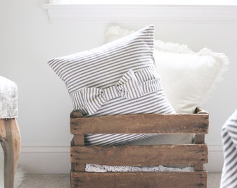 COVER ONLY, Ticking Stripe with bow Pillow