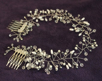 Pearls and Crystals Bridal Wedding Headband Bridal Headpiece Hairpiece Bridal Hair Vine Bridal Wreath Bridal Tiara Diadem