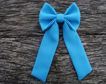 Bow tie brooch pin azure blue