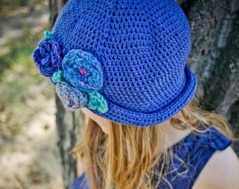 Crochet Hat PATTERN: Sun Hat Pattern, Panama Hat, Summer Hat, Beach Hat, Flower Hat, Crochet Sun Hat, Girls Cloche Hat, WeeYarn