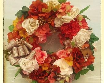 Fall Wreath-SHADES of AUTUMN WREATH-Interior/Door Wreath-Decorative Wreath-Handmade Wreath