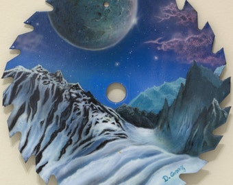 Saw Blade Art Winter Landscape Painting Fantasy Snow Ice Mountain Glacier Space Moon Original Acrylic Realism Painting
