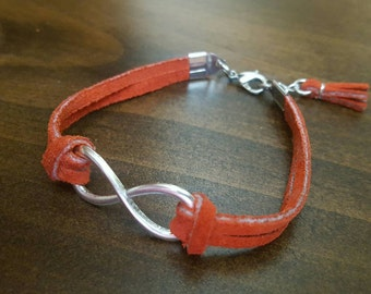 Burnt orange leather infinity bracelet