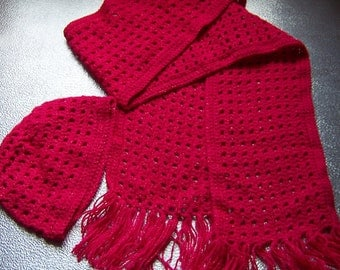 Bright PINK sparky glitter hand crocheted hat and scarf set, Neckwarmer ,handmade scarf and hat