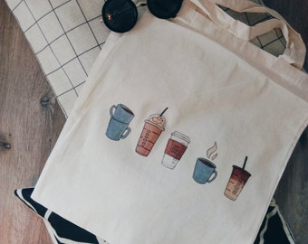 Canvas tote bag coffee starbucks