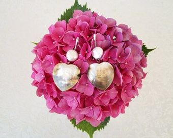 Earrings in silver 925 pearls and mother of pearl heart