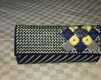 Blue and yellow clutch, blue clutch, evening clutch,plastic canvas purse