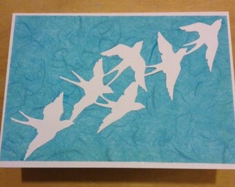 Set of 6 notelets / note cards birds in flight white on blue swallows