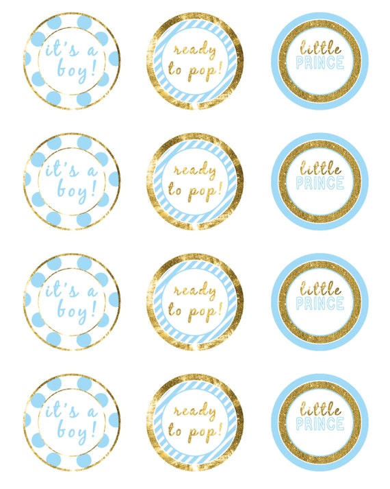 Boy baby shower package blue and gold baby shower set for Blue and gold bathroom sets