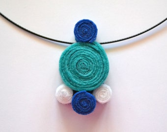 Choker necklace handmade felt spirals circle turquoise blue and white