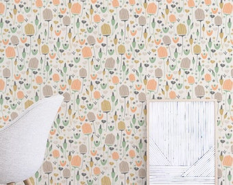 Delicate Flower Wallpaper, Removable Wallpaper, Self-adhesive Wallpaper, Tropical Wall Décor, Jungle Wallcovering - JW077