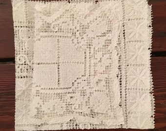 Vintage White Handstitched Doilies, Square Table Scarf and Chair Doily, Vintage White Linens