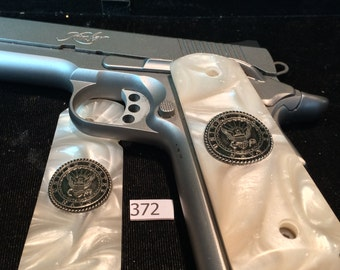 1911 grips full size,Colt,ruger,Kimber,Taurus,Sig,Springfield,S W, special issue U.S. Navy medallions in  faux Mother of Pearl,# 372