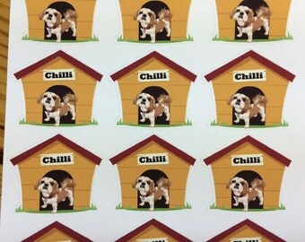 Customizable Pup in the dog house Planner Stickers